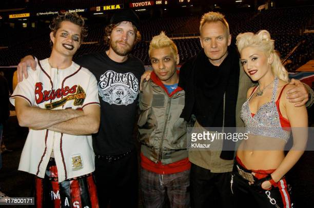 Adrian Young, Tom Dumont, Tony Kanal, Sting and Gwen Stefani.