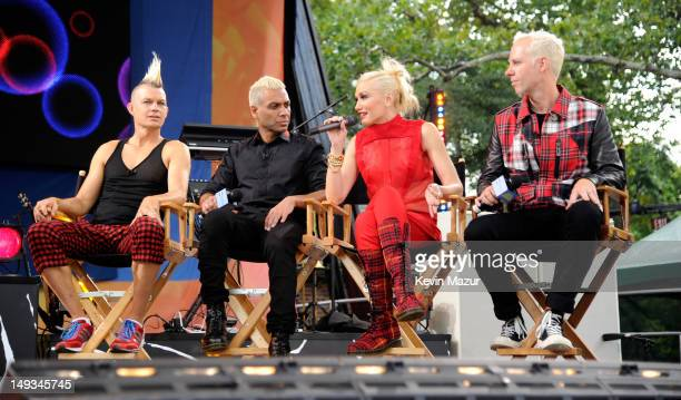 """Adrian Young, Tony Kanal, Gwen Stefani and Tom Dumont of No Doubt on stage before ABC's """"Good Morning America"""" at Rumsey Playfield, Central Park on..."""
