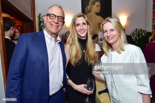 Adrian Zackheim Ann Coulter and Vicky Ward attend publisher Henry Holt toasts Michael Wolff's 'Fire and Fury' at Private Residence on January 17 2018...