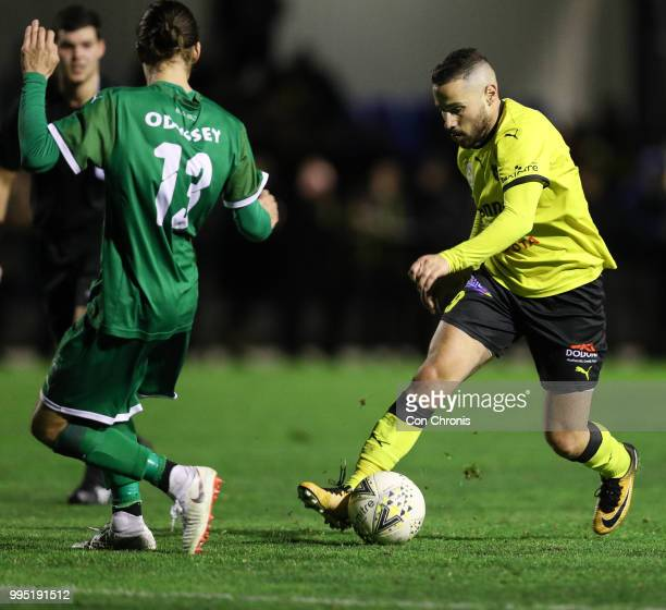 Adrian Zahra of Heidelberg United controls the ball during the NPL Dockerty Cup match between Heidelberg United and Bentleigh Greens at Jack Edwards...