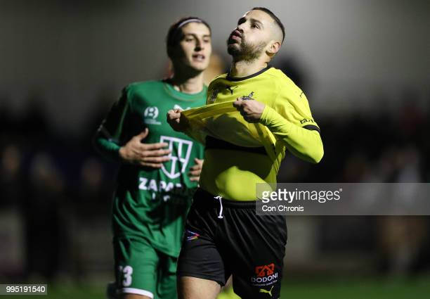 Adrian Zahra of Heidelberg United reacts to a missed goal opportunity during the NPL Dockerty Cup match between Heidelberg United and Bentleigh...