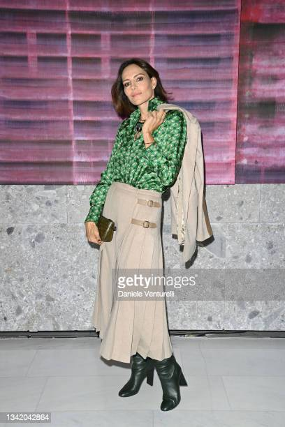 Adriana Abascal is seen on the front row of the Max Mara fashion show during the Milan Fashion Week - Spring / Summer 2022 on September 23, 2021 in...
