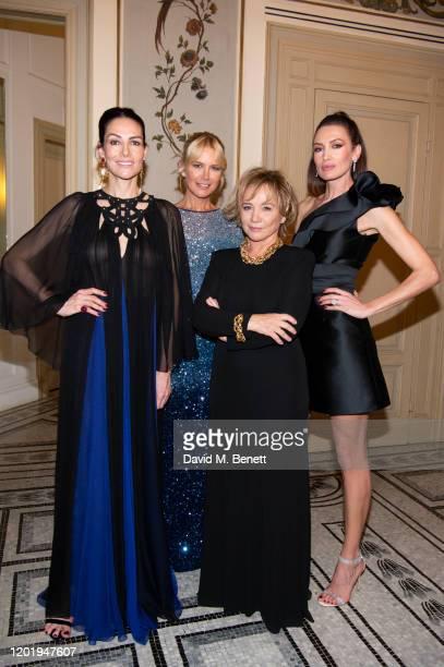 Adriana Abascal, Valeria Mazza, Alberta Ferretti and Nieves Alvarez attend the Alberta Ferretti after party during Milan Fashion Week Fall/Winter...