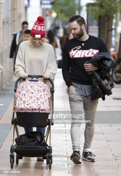 Adriana Abenia and Sergio Abad are seen going for a stroll with their child Luna Abad on November 13 2018 in Madrid Spain
