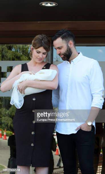 Adriana Abenia and Sergio Abad present their newborn child Luna Abad on July 19 2018 in Madrid Spain