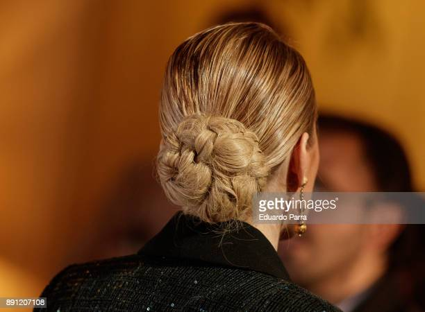 Adriana Abenia hair bun detail attends the Glamour Magazine Awards photocall at Ritz hotel on December 12 2017 in Madrid Spain