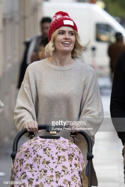 Adriana Abenia is seen going for a stroll with her child Luna Abad on November 13 2018 in Madrid Spain