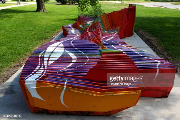 Adriana Arteaga Ian Kearns and Blake Villwock's The 'Drift' Bench sits in Mitchell Park in Milwaukee Wisconsin on September 14 2018 MANDATORY MENTION...