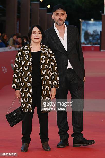 Adriana Asti and Rocco Talucci attend a red carpet for 'StarLight Cinema Award' during the 10th Rome Film Fest on October 24 2015 in Rome Italy