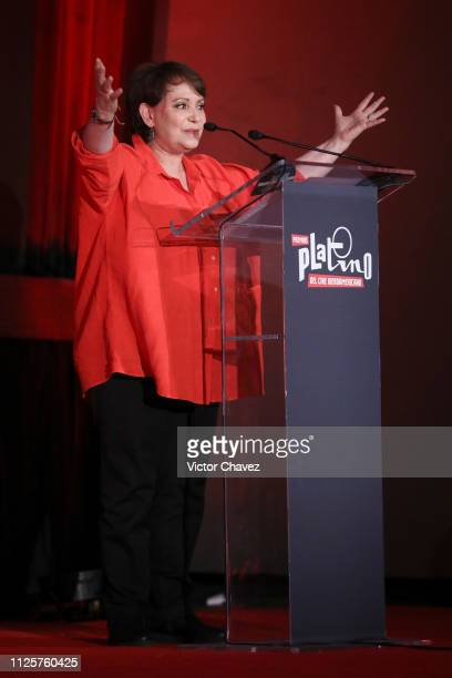 Adriana Barraza speaks on stage during the shortlist presentation of the Premios Platino at Cineteca Nacional on February 18 2019 in Mexico City...