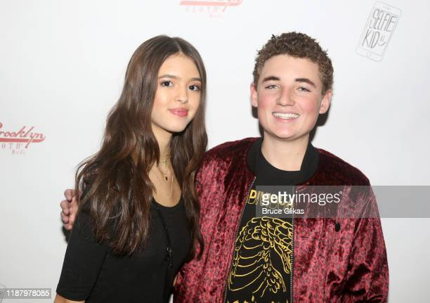 Adriana Camposano and Ryan McKenna aka The Selfie Kid pose during a launch event promoting his Selfie Kid X Brooklyn Cloth Limited Edition TShirt...