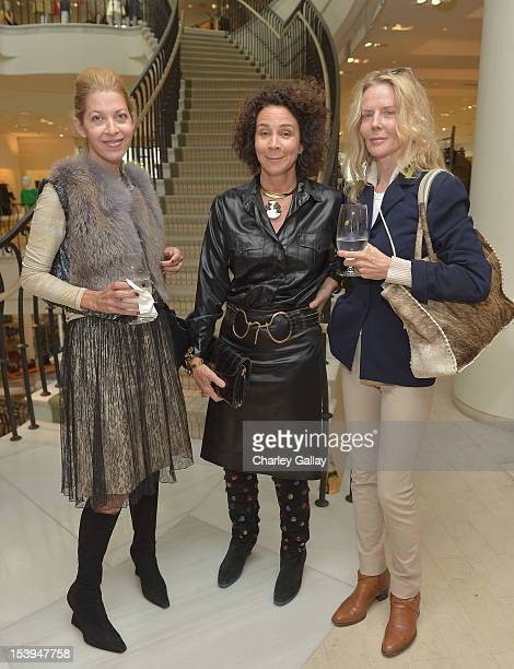 Adriana Caras Lisa Eisner and Fiona Lewis attend Barneys New York and Lisa Eisner Host A Lunch To Celebrate Kelly Klein And The Launch Of Pools...