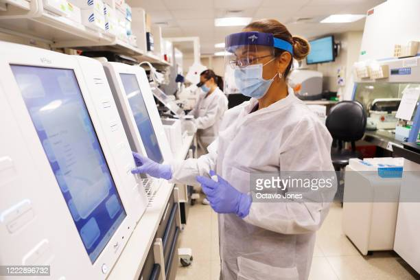 Adriana Cardenas a medical technologist processes test samples for the coronavirus at the AdventHealth Tampa labs on June 25 2020 in Tampa Florida...