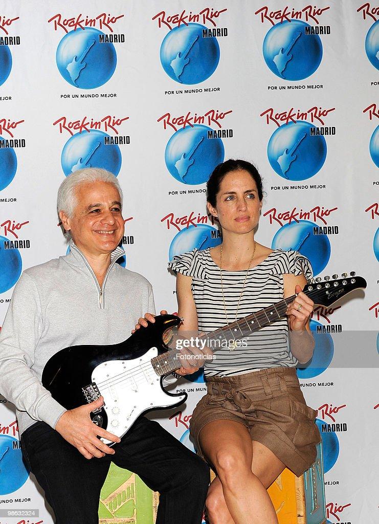 Adriana Carolina Herrera (R) and 'Rock in Rio' founder Roberto Medina present 'Rock in Rio-Madrid 2010' program for children, at Baby Deli on April 23, 2010 in Madrid, Spain.