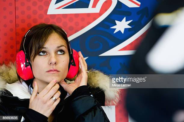 Adriana Casey Stoner's wife looks on during Irta Test on March 29 2009 in Jerez de la Frontera Spain