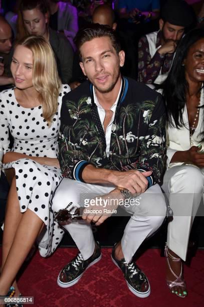Adriana Cernanova and Adam Senn attend the Dolce Gabbana show during Milan Men's Fashion Week Spring/Summer 2018 on June 17 2017 in Milan Italy