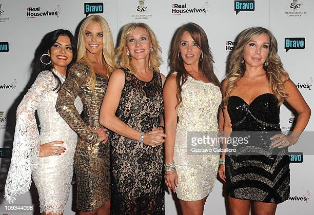Adriana De Moura, Alexia Echevarria, Lea Black, Cristy Rice and Marysol Patton attends The Real Housewives of Miami Premiere Party at Eden Roc, a...