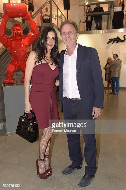 Adriana de Moura and Bernard Markowicz attend French Sculptor Richard Orlinski comes to Miami US Opening Party at Markowicz Fine Art Gallery...