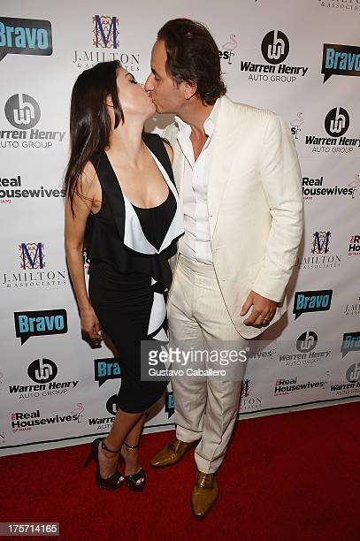 Adriana De Moura and Frederic Marq attend The Real Housewives of Miami Season 3 Premiere Party on August 6 2013 in Miami Florida