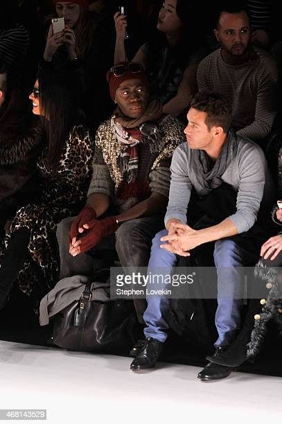 Adriana De Moura and J Alexander attend the Custo Barcelona fashion show during MercedesBenz Fashion Week Fall 2014 at The Salon at Lincoln Center on...