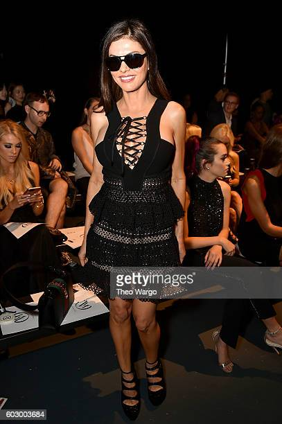 Adriana de Moura attends the Carmen Marc Valvo Spring/Summer 2017 Fashion Show during New York Fashion Week at Pier 59 Studios on September 11 2016...