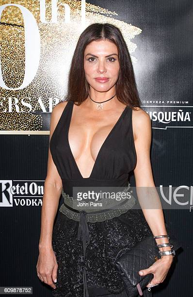 Adriana De Moura attends Venue Magazine's Sept/Oct 2016 Cover Party With Chino y Nacho on September 22 2016 in Miami Florida