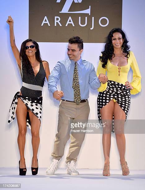 Adriana De Moura AZ Araujo and Cozete Gomes walk the runway at the AZ Araujo show during MercedesBenz Fashion Week Swim 2014 at the Raleigh on July...
