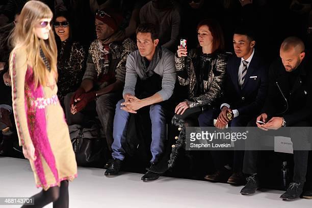 Adriana De Moura J Alexander Carrie Preston and Justiin Davis attend the Custo Barcelona fashion show during MercedesBenz Fashion Week Fall 2014 at...