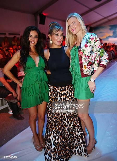Adriana de Moura Marysol Patton and Kristen Ducote attend Maaji Swimwear MercedesBenz Fashion Week Swim 2014 Front Row at Raleigh Hotel on July 21...