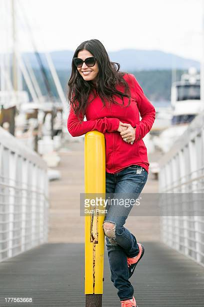 Adriana De Moura of Real Housewives of Miami visits a capture site of the orcas she's fighting to free on August 23 2013 in San Juan Islands...