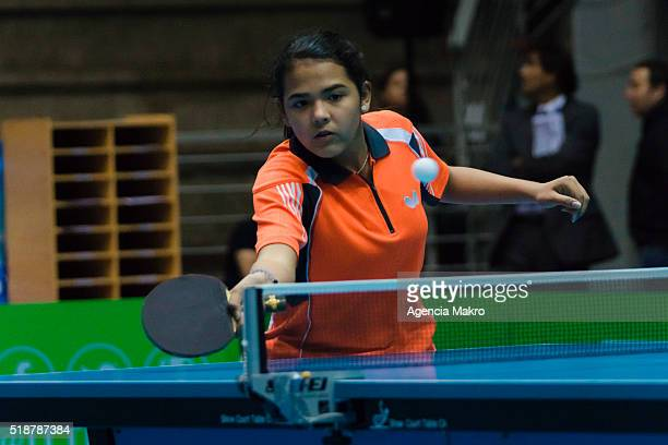 Adriana Diaz of Puerto Rico during a match as part of ITTFLatin American Olympic Qualification Tournament Santiago de Chile at Centro de...