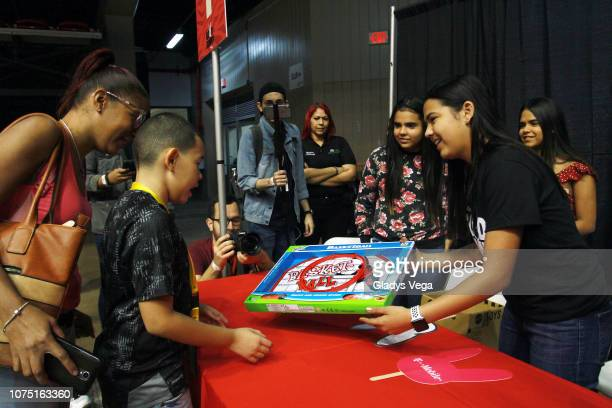 Adriana Diaz participates of the Bad Bunny donation event at Roberto Clemente Coliseum on December 23 2018 in San Juan Puerto Rico