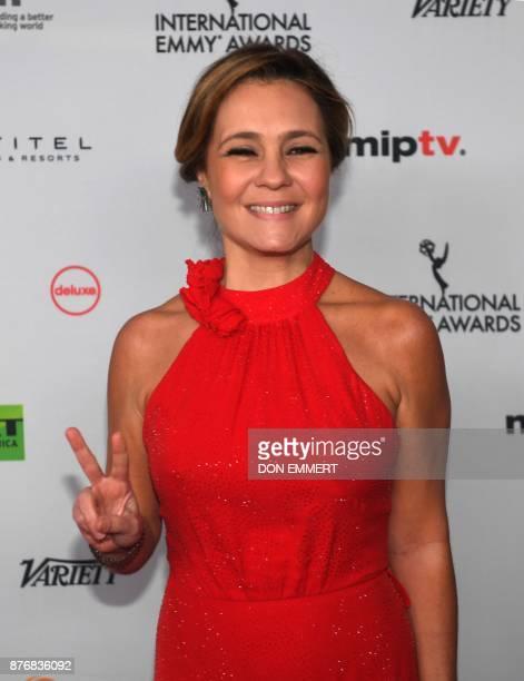 Adriana Esteves arrives for the 45th International Emmy awards gala in New York city on November 20 2017 The International Emmy Award is an award...