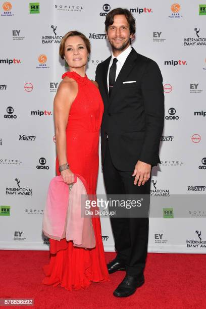 Adriana Esteves for best performance by an actress in Justica and her husband Vladimir Brichta attend the 45th International Emmy Awards at New York...