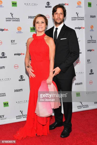 Adriana Esteves for best performance by an actress in Justica attends with her husband Vladimir Brichta at the 45th International Emmy Awards at New...