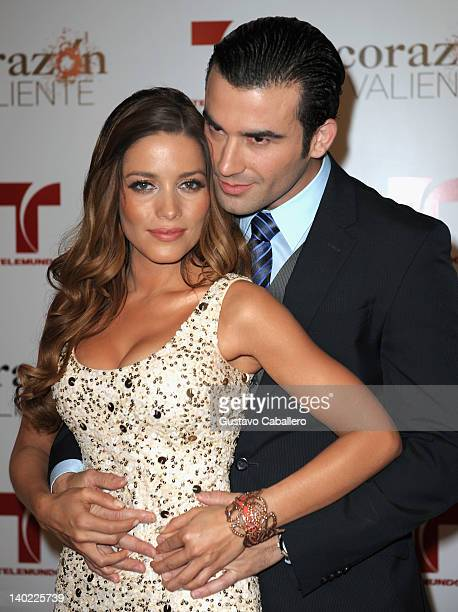 Adriana Fonseca and Jose Luis Resendez attends Telemundo's Corazon Valiente Red Carpet Premiere at Fontainebleau Miami Beach on February 29 2012 in...