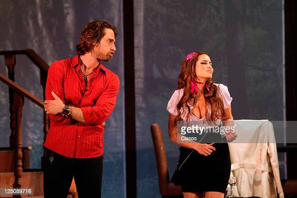 Adriana Fonseca Sebastian Rulli in presentation of the play Divorciemonos mi Amor at Blanquita Theater in Mexico City