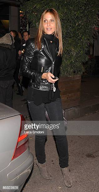 Adriana Fossa Paolo Maldini's wife arrives at La Briciola restaurant on March 9 2009 in Milan Italy