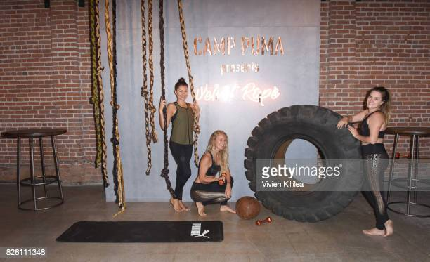 Adriana Gallarzo Cat Wright and Kristin Fedyk attend PUMA Hosts CAMP PUMA To Launch Their Newest Women's Collection Velvet Rope at Goya Studios on...