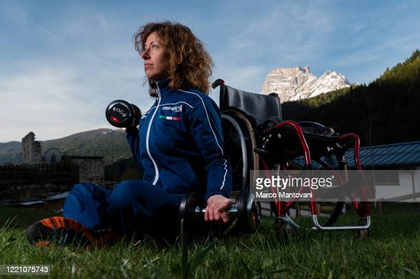 Adriana Gardini trains in isolation on April 25 2020 in Cortina d'Ampezzo Italy The coronavirus and the disease it causes COVID19 are having a...