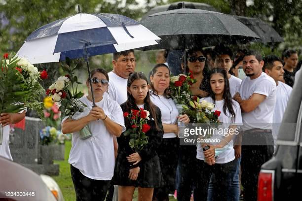 Adriana Girón second from left, shown with family members, wait for the coffin of her mother, Rosario Yanira Girón de Orellana of El Salvador, to be...