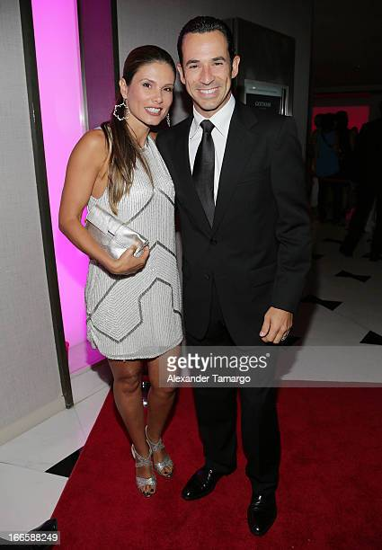 Adriana Henao and Helio Castroneves arrive at the Blacks' Annual Gala at Fontainebleau Miami Beach on April 13 2013 in Miami Beach Florida