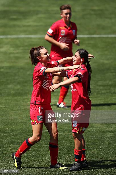 Adriana Jones of Adelaide United celebrates with teammate Alex Chidiac after Jones scored from a penalty kick during the round 14 WLeague match...