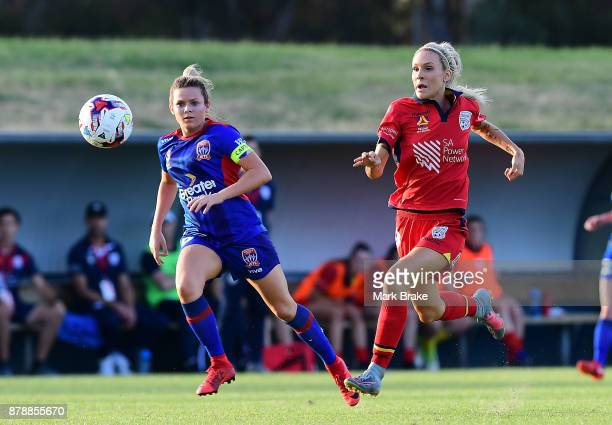 Adriana Jones of Adelaide United competes with Cassidy Davis of Newcastle Jets during the round five WLeague match between Adelaide United and...