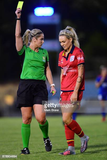 Adriana Jones of Adelaide United receives a yellow card during the round five WLeague match between Adelaide United and Newcastle Jets at Marden...