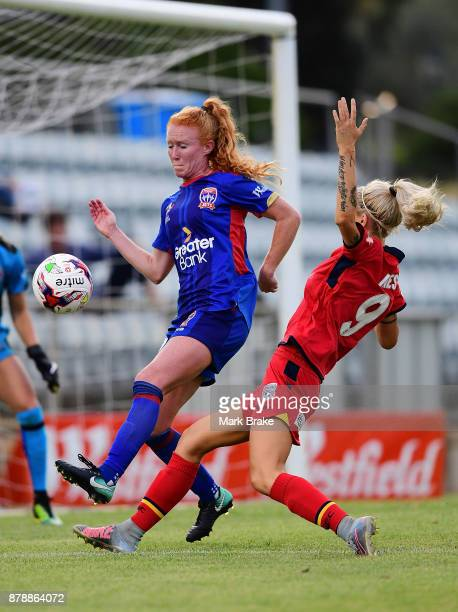 Adriana Jones of Adelaide United shoots for goal during the round five WLeague match between Adelaide United and Newcastle Jets at Marden Sports...