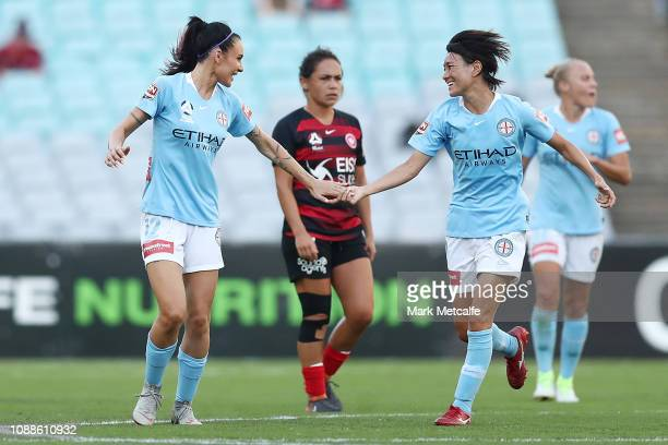Adriana Jones of Melbourne City celebrates scoring a goal with team mate Yukari Kinga of Melbourne City during the round nine WLeague match between...