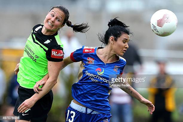 Adriana Jones of the Jets contests the header against Canberra defence during the round five W-League match between the Newcastle Jets and Canberra...