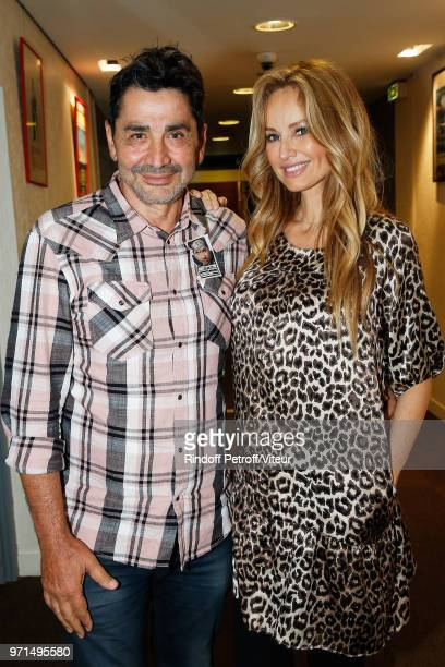 Adriana Karembeu and her husband Aram Ohanian attend 'Sans Moderation' Laurent Gerra's One Man Show at Palais des Congres on June 8 2018 in Paris...
