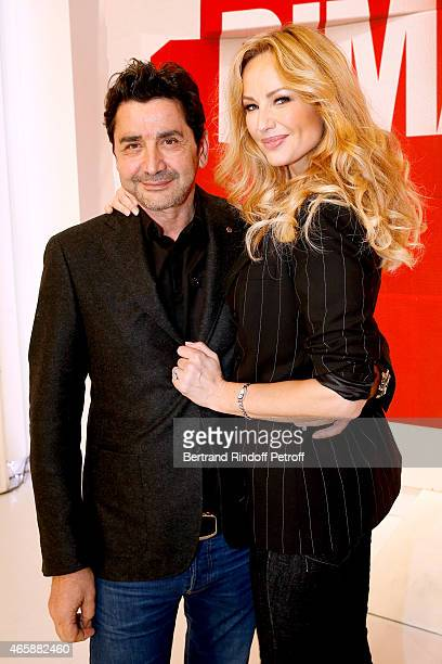 Adriana Karembeu and her husband Aram Ohanian attend the 'Vivement Dimanche' French TV at Pavillon Gabriel on March 11 2015 in Paris France